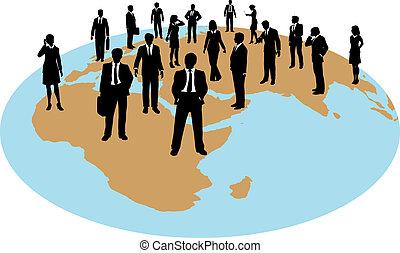 global, styrka, affärsfolk, arbete, resurser