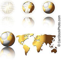 glober, gyllene