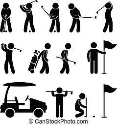 golf, golfspelare, teburk, gunga, folk