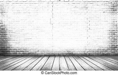 golv, ved, vit fond, vägg, tegelsten