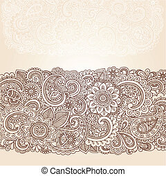 gräns, paisley, henna, design, blomningen