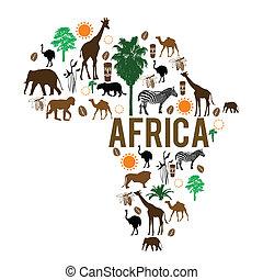 gränsmärke, karta, silhuett, afrika, ikonen