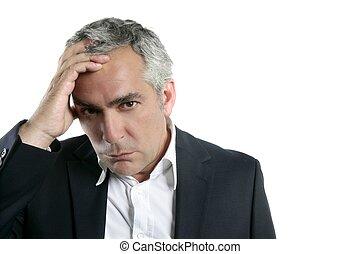 grå, bekymrat, hår, expertis, affärsman, senior, trist