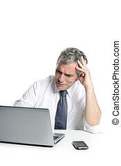 grå, ilsket, trist, hår, affärsman, senior, laptop