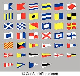 grå, internationell, signal, isolerat, kust, vinka, bakgrund, nautisk, flaggan