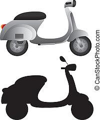 grå, motorcykel