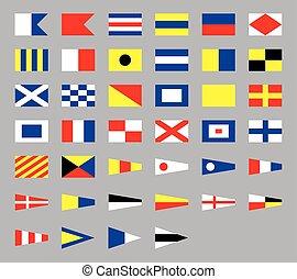grå, signal, isolerat, kust, internationell, bakgrund, nautisk, flaggan