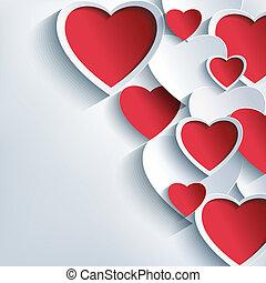 grå, valentinkort, bakgrund, hjärtan, stilig, dag, röd, 3