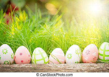 grön, ägg, gräs, påsk