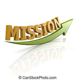 grön, ord, mission, pil