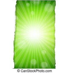 grön, sunburst, bakgrund