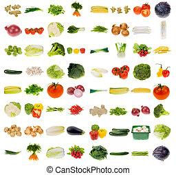 grönsak, kollektion, jättestor