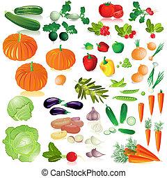 grönsaken, isolerat, kollektion