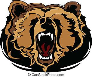 gra, grizzly björn, huvud, vektor, maskot