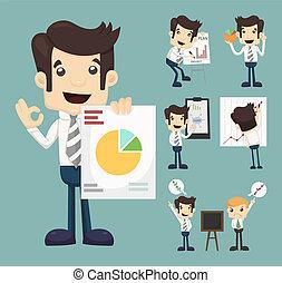 graf, sätta, presentation, tecken, affärsman