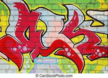 graffiti, vägg, tegelsten