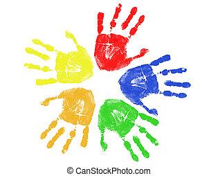 grafik, färgrik, hand