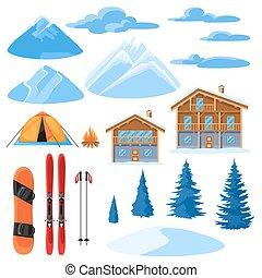 gran, mountains, chalet, vinter, snöig, alpin, hus, sätta, träd, snowboard, design., skida