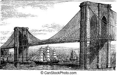gravyr, bro, enigt, årgång, states., illustration, flod, brooklyn, new york, öster, 1890s