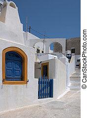 grek, stänger med fönsterluckor