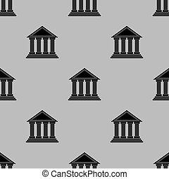 grek, tempel, seamless, ikon, mönster