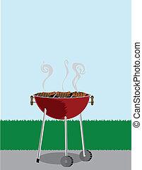 grill, matlagning, utanför, höjande, barbecue, hotdogs