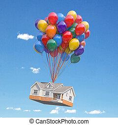 gripande, flyttkalas, sky., köper, bukett, sväller, verklig, flygning, concept., hus, egendom