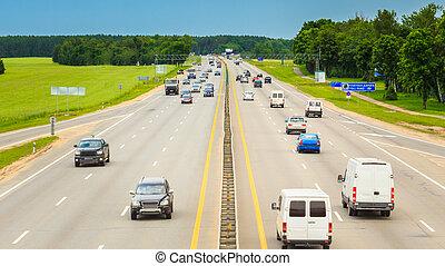 gripande, upptaget, under, day., tung, hastighet, trafik, motorväg, motorväg