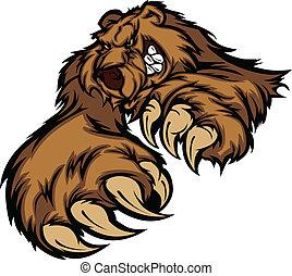 grizzly björn, kropp, maskot, nypor
