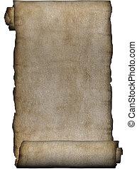 grov, manuskript, rulle, pergament