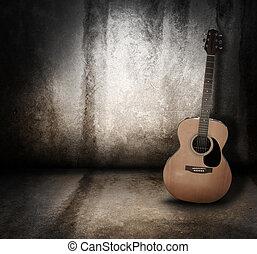 grunge, akustisk, bakgrund, musik, gitarr