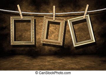 grunge, guld, nödställd, foto, bakgrund, inramar
