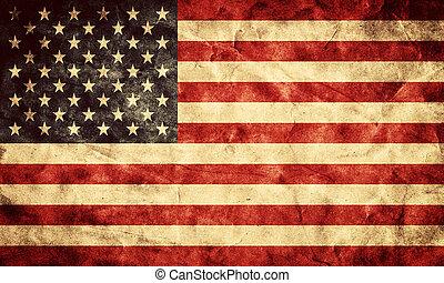 grunge, usa, flag., årgång, sak, flaggan, retro, kollektion, min