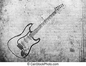 grunge, vägg, affisch, musik, vagga, tegelsten
