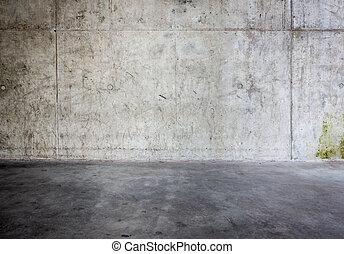 grungy, betongvägg, golv