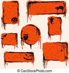 grungy, formge grundämnen, halloween, kollektion