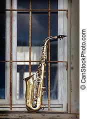 grungy, gammal, saxofon