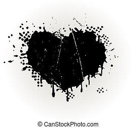 grungy, hjärta gestaltade, splat, bläck