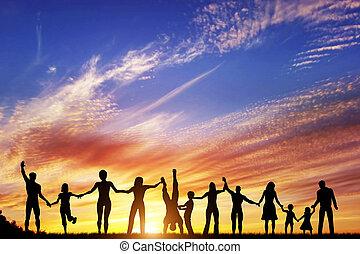 grupp, folk, familj, tillsammans, hand, mångfaldig, vänner, lag, lycklig