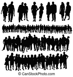 grupp, folk, stor, par, vektor, silhuett