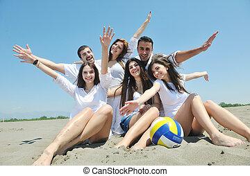 grupp, folk, ung, ha gyckel, strand, lycklig