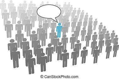 grupp, folkmassa, företag, person, individ, anförande, social