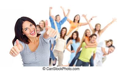 grupp, lycklig, portrait., ungdomar