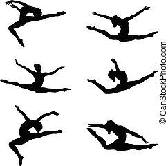 grupp, sätta, gymnastik, artistisk