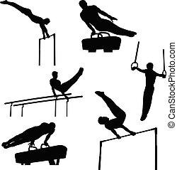 grupp, sätta, gymnastik, sports