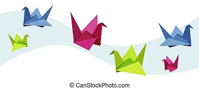 grupp, svan, olika, origami