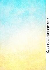gul fond, blå, hi-key