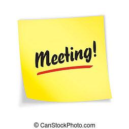 "gul, ""meeting"", anteckna, klibbig"