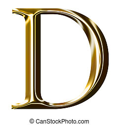 guld, alfabet, d, symbol