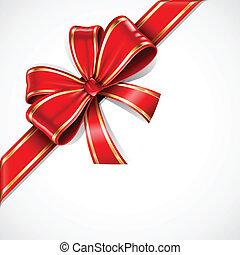 guld, gåva bocka, vektor, band, röd